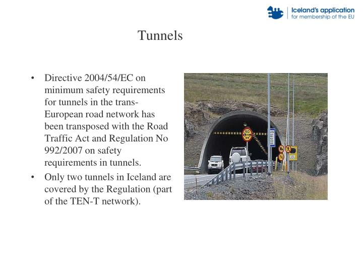 Directive 2004/54/EC on minimum safety requirements for tunnels in the trans-European road network