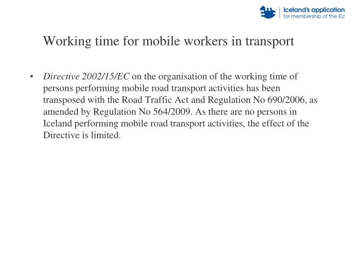 Working time for mobile workers in transport