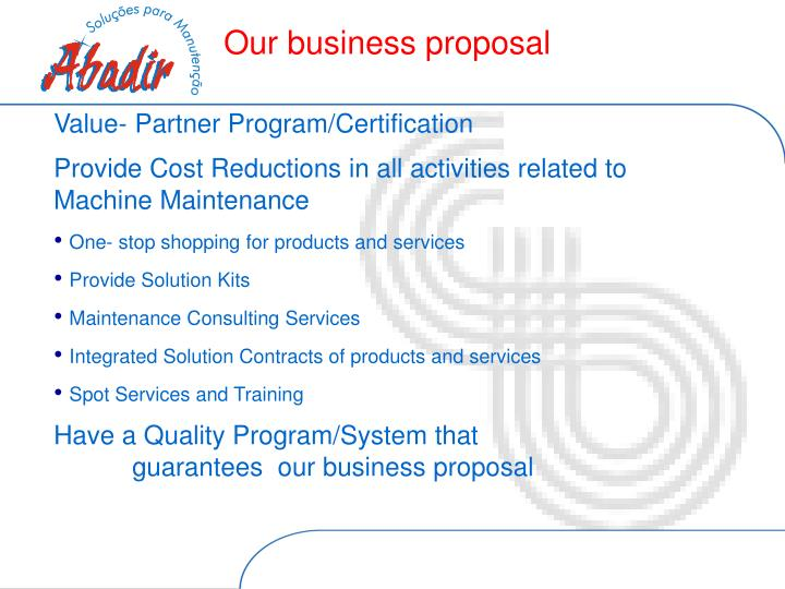 Our business proposal