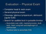 evaluation physical exam