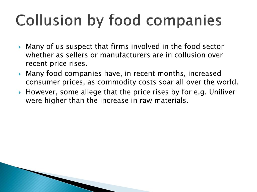 Collusion by food companies