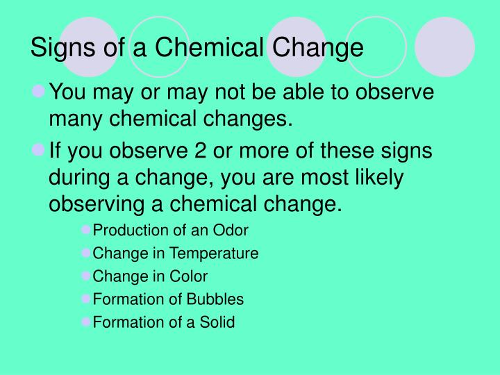 Signs of a Chemical Change