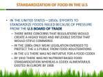 standardization of food in the u s