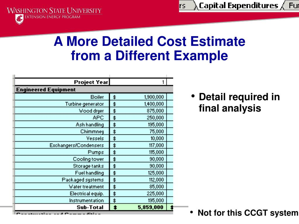 A More Detailed Cost Estimate