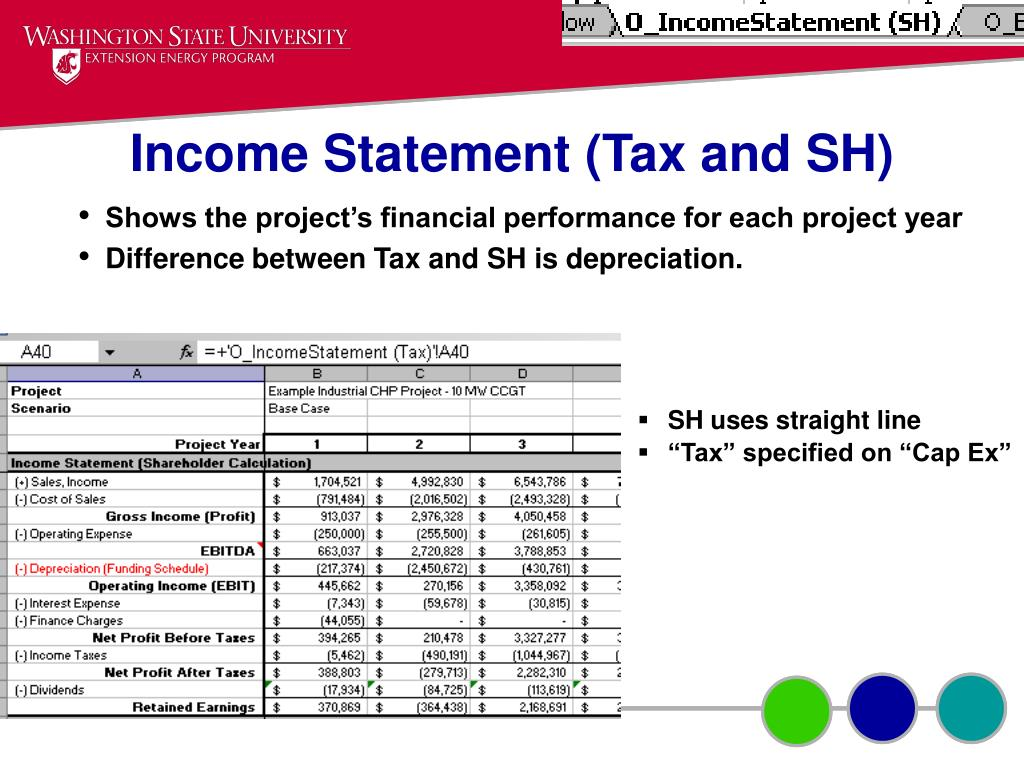 Income Statement (Tax and SH)