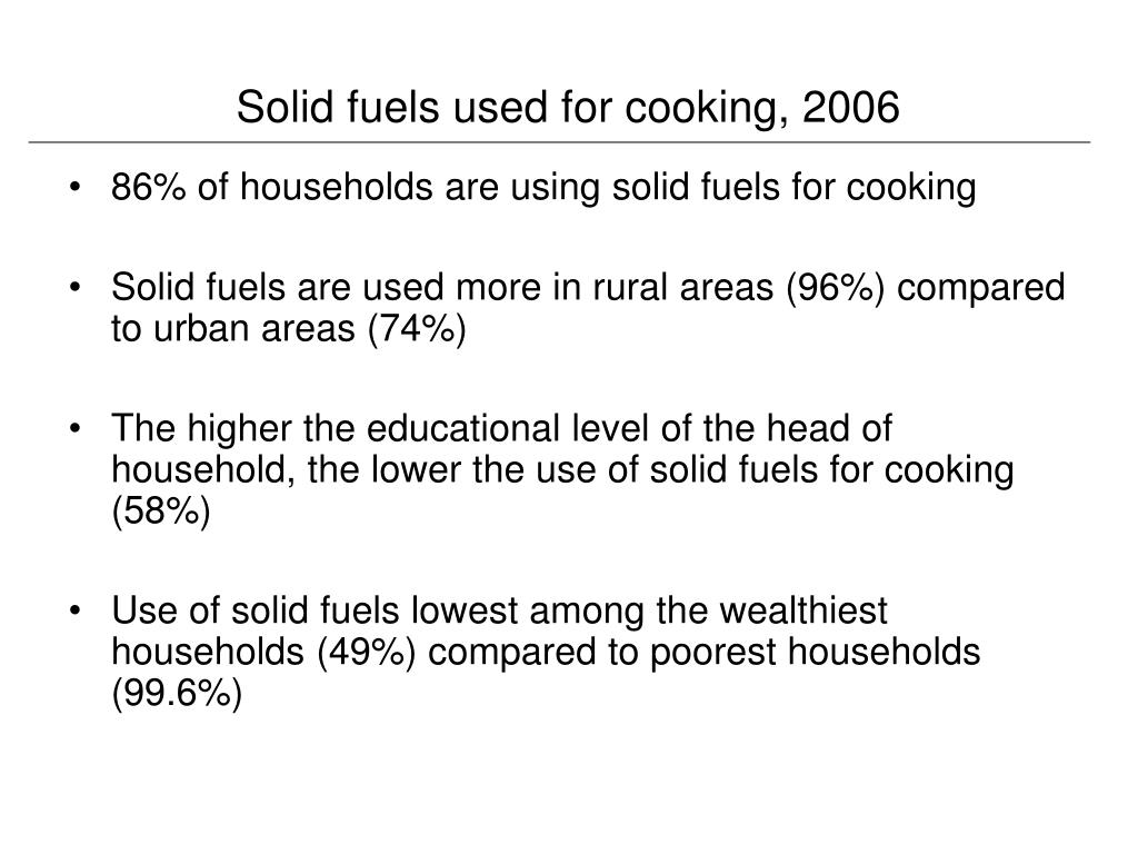 Solid fuels used for cooking, 2006