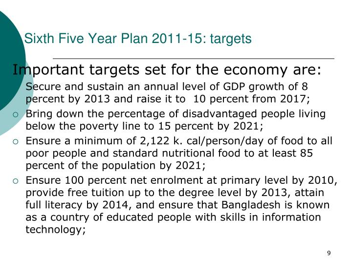 Sixth Five Year Plan 2011-15: targets
