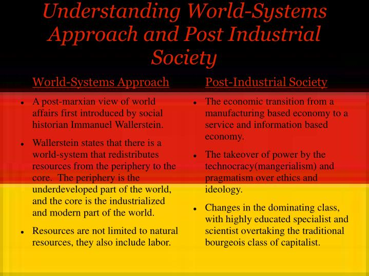 Understanding world systems approach and post industrial society