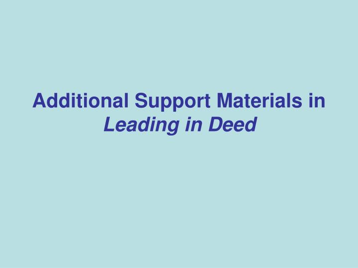 Additional Support Materials in