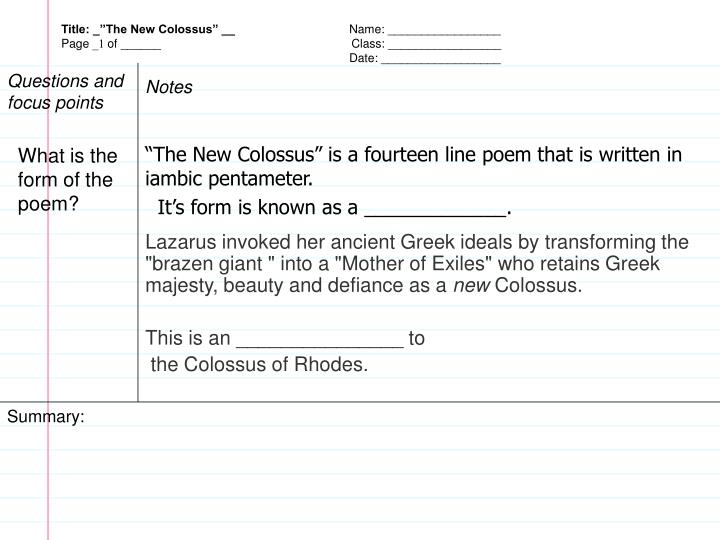 the new colossus by emma lazarus summary