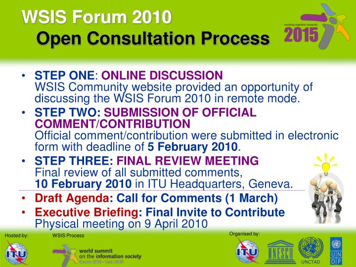 Wsis forum 2010 open consultation process