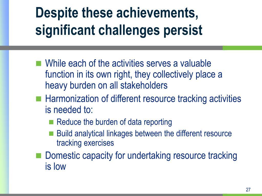 Despite these achievements, significant challenges persist