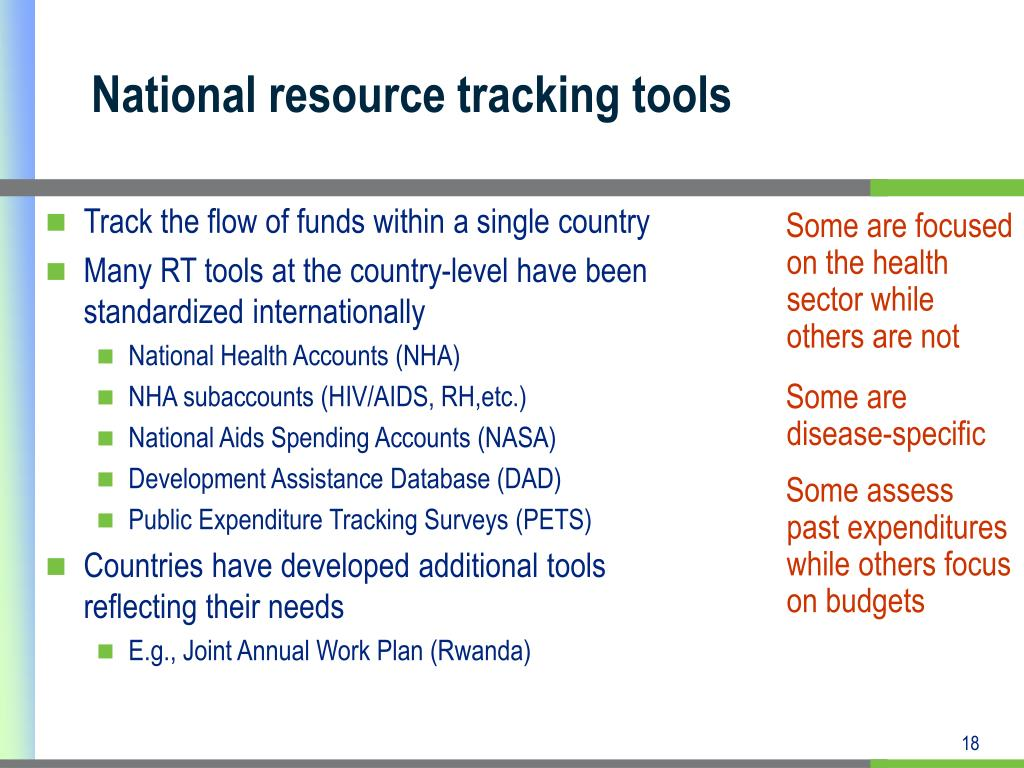 National resource tracking tools