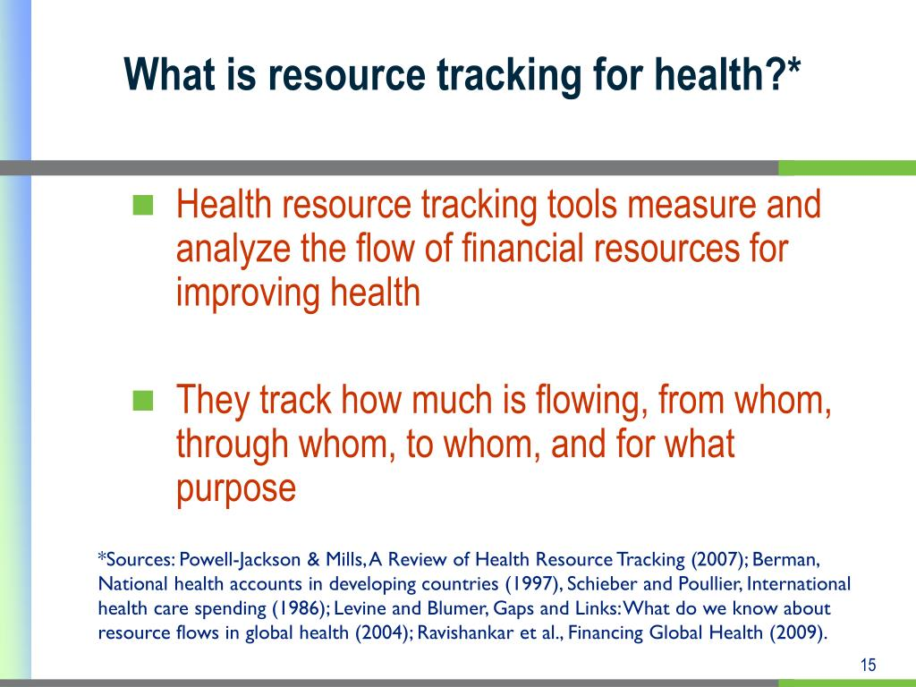 What is resource tracking for health?*