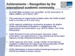 achievements recognition by the international academic community