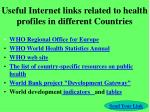 useful internet links related to health profiles in different countries