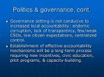 politics governance cont