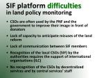 sif platform difficulties in land policy monitoring