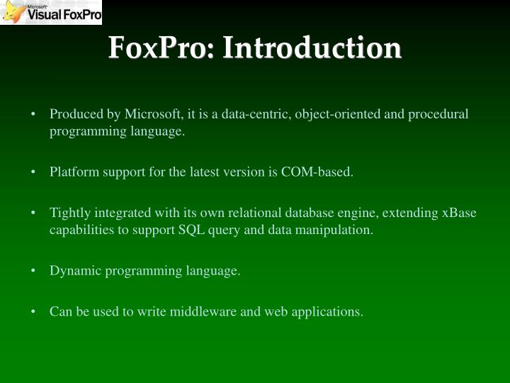 Foxpro introduction