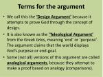 terms for the argument