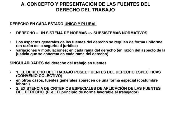 A. CONCEPTO Y PRESENTACIÓN DE LAS FUENTES DEL DERECHO DEL TRABAJO