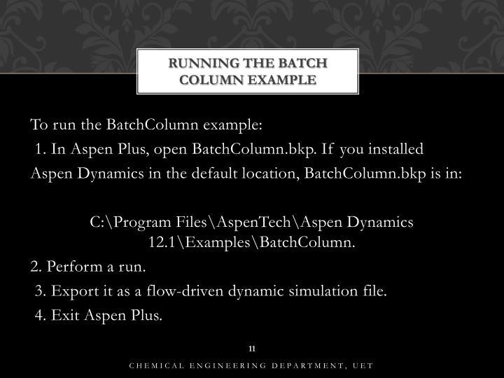Running the Batch Column