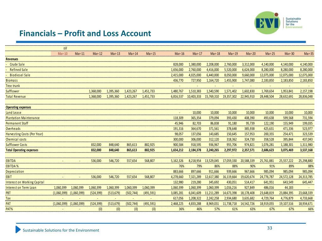 Financials – Profit and Loss Account