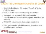 cyca the certification authority of cygrid
