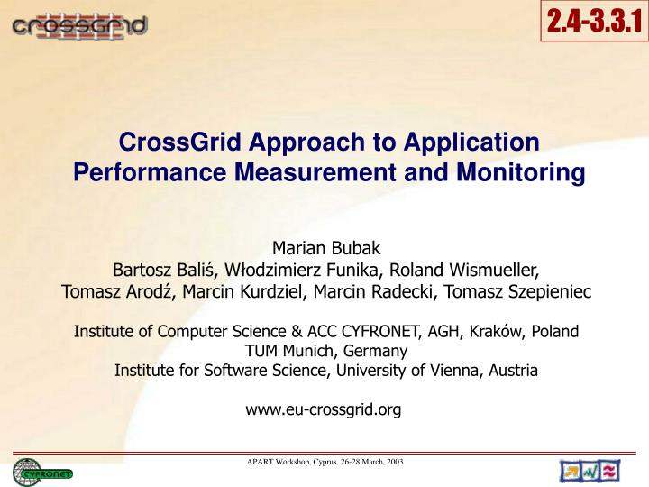 crossgrid approach to application performance measurement and monitoring n.