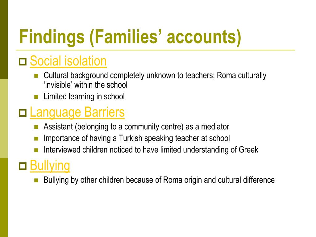 Findings (Families' accounts)