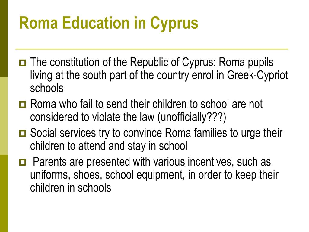 Roma Education in Cyprus