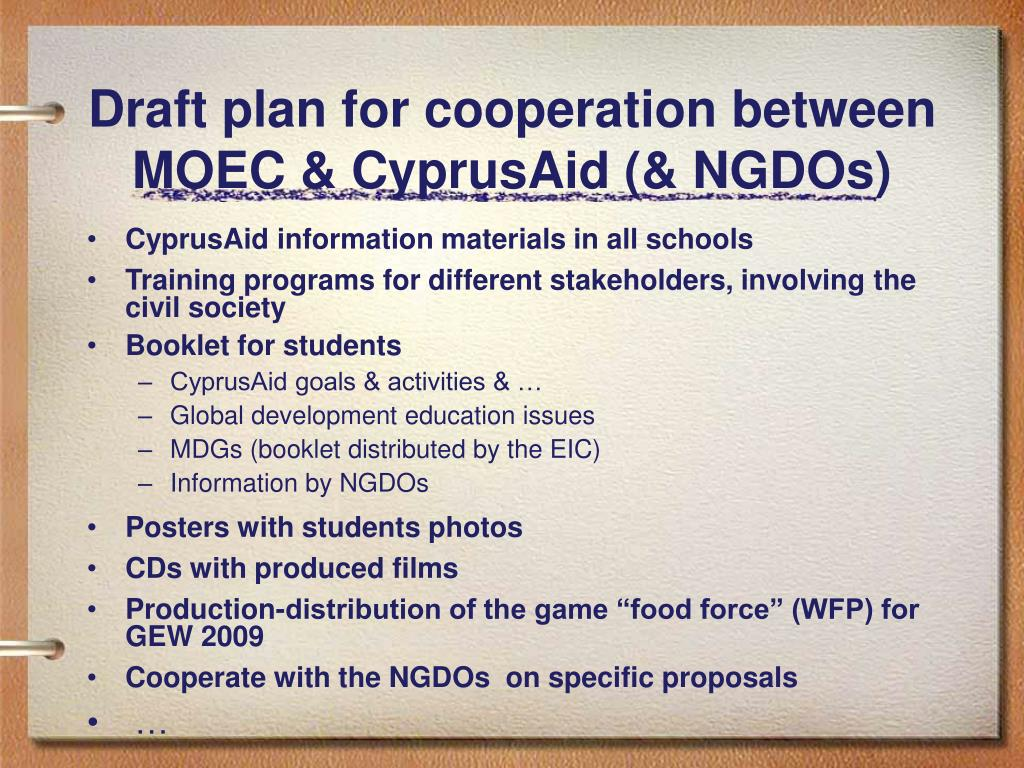 Draft plan for cooperation between MOEC & CyprusAid (& NGDOs)