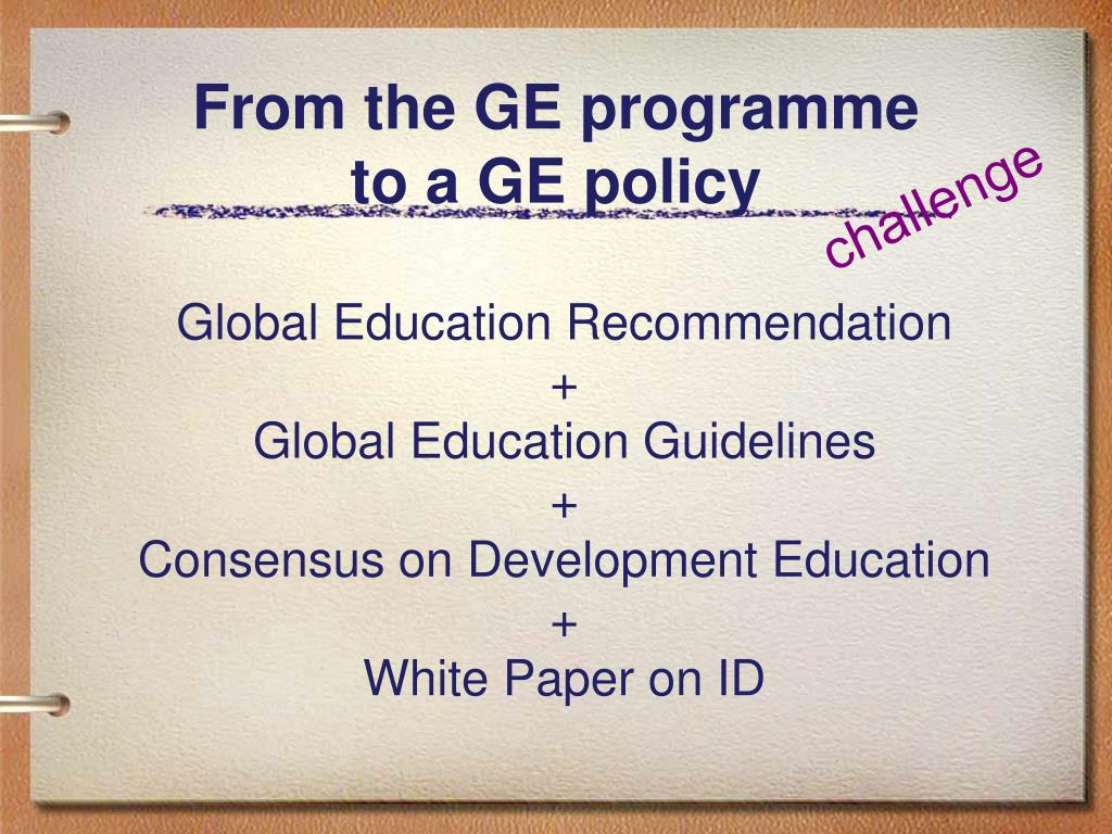 From the GE programme