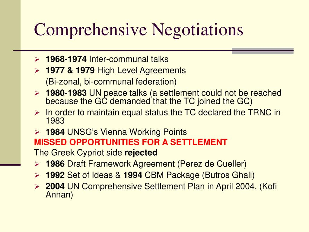 Comprehensive Negotiations