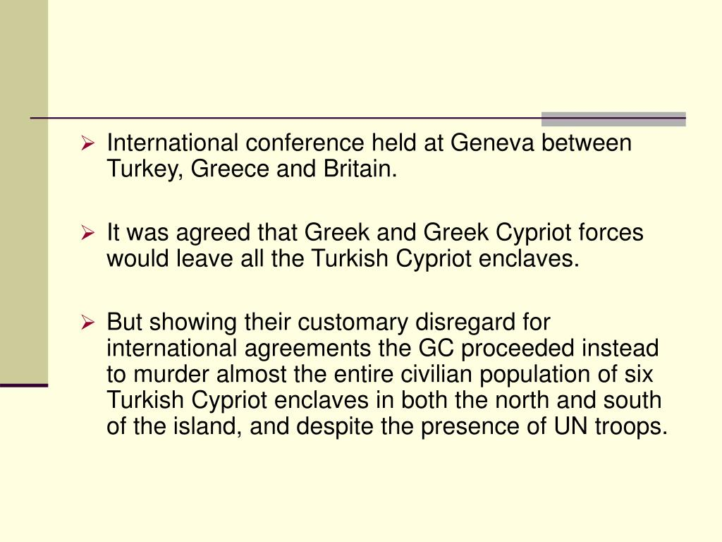 International conference held at Geneva between Turkey, Greece and Britain.