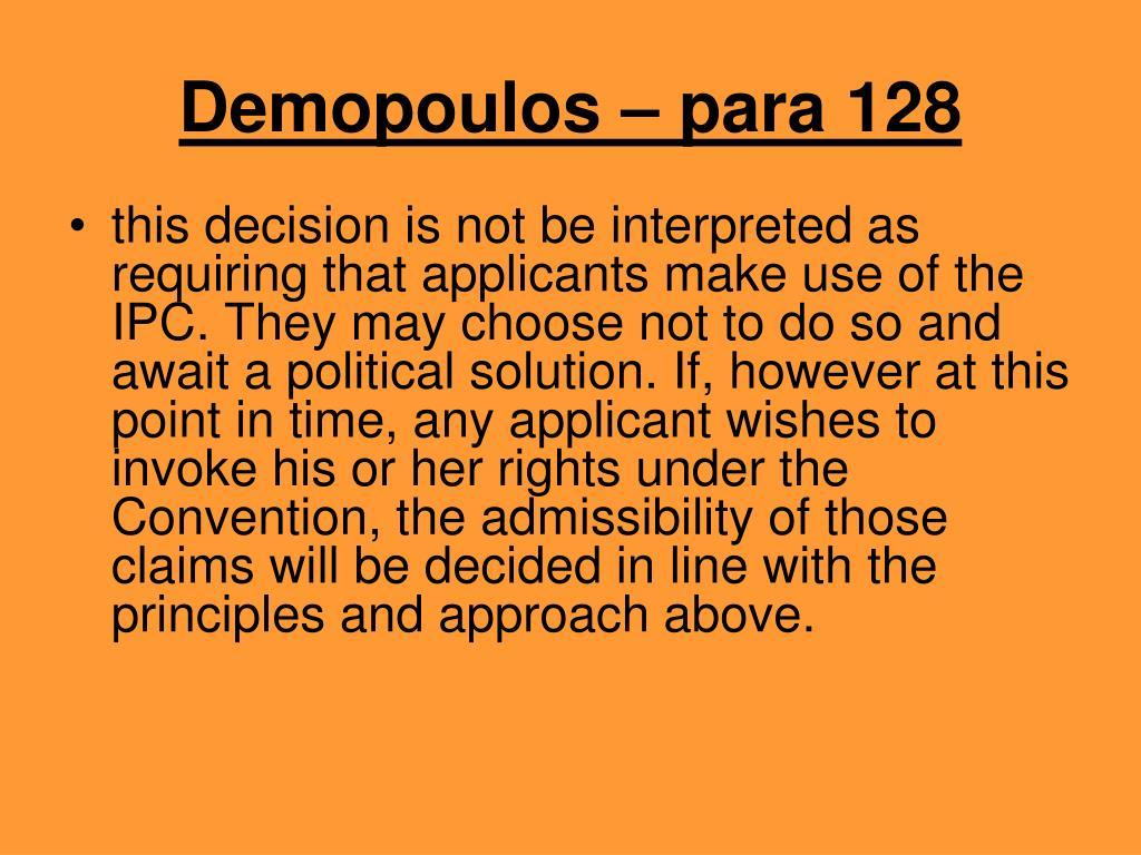 Demopoulos – para 128