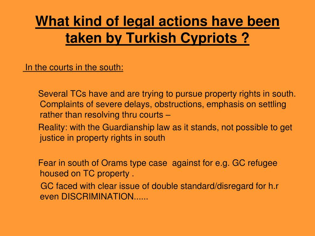What kind of legal actions have been taken by Turkish Cypriots ?