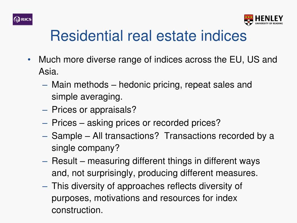 Residential real estate indices