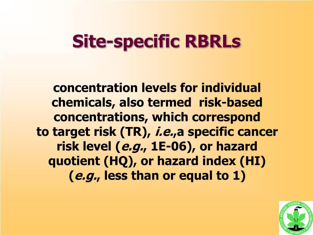 Site-specific RBRLs