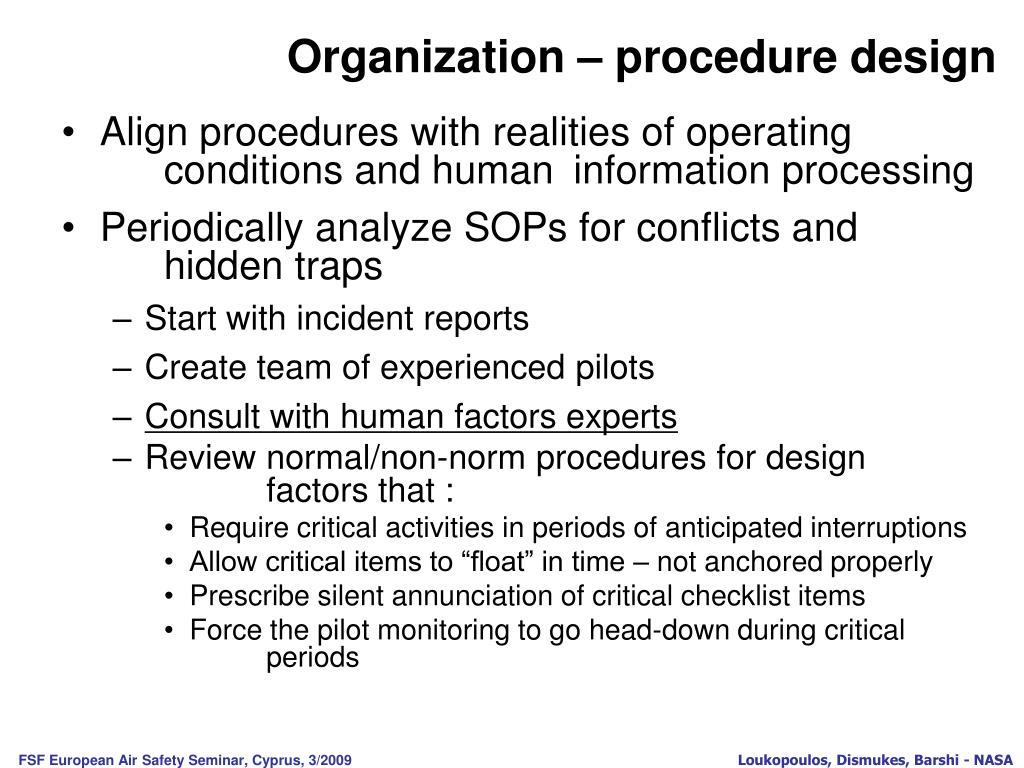 Organization – procedure design