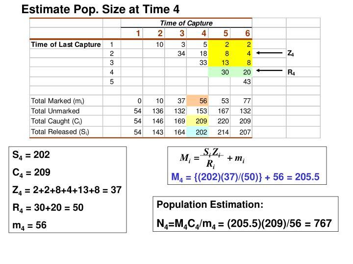 Estimate Pop. Size at Time 4