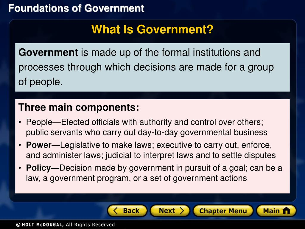 PPT - Section 1: The Purposes of Government Section 2 ...