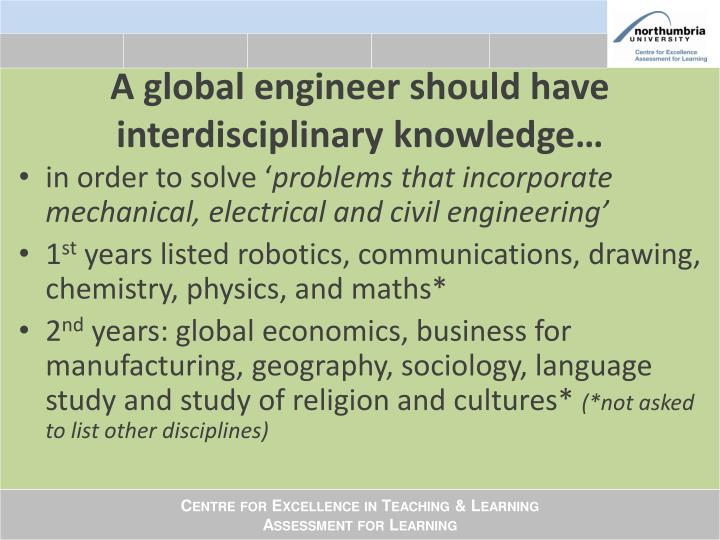 A global engineer should have interdisciplinary knowledge…