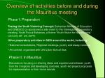 overview of activities before and during the mauritius meeting