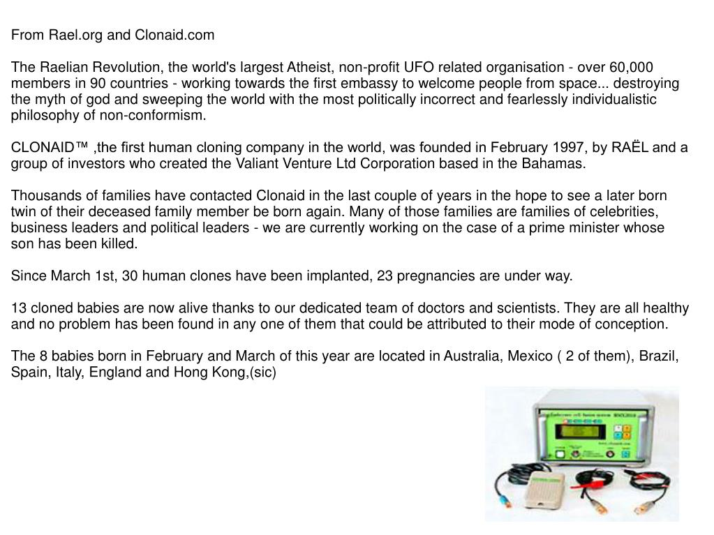 From Rael.org and Clonaid.com