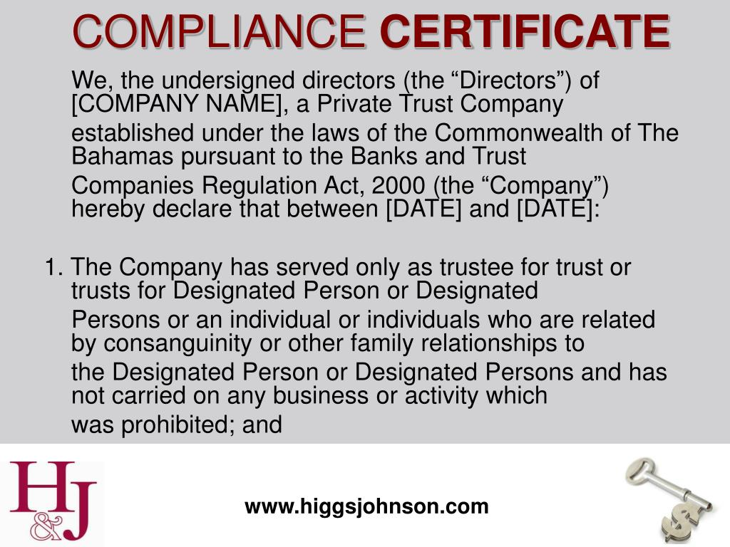 "We, the undersigned directors (the ""Directors"") of [COMPANY NAME], a Private Trust Company"
