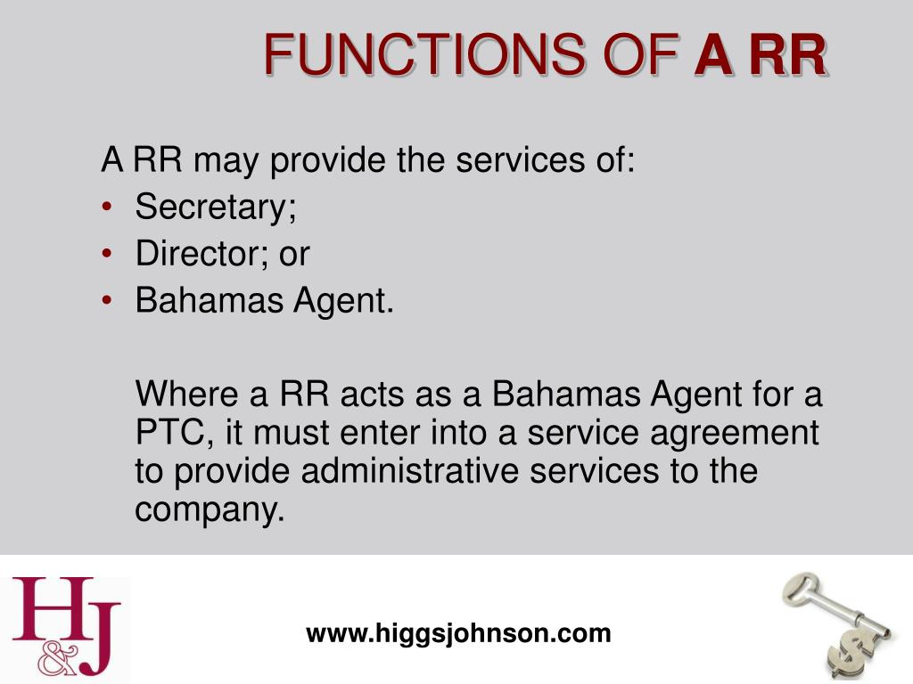 A RR may provide the services of: