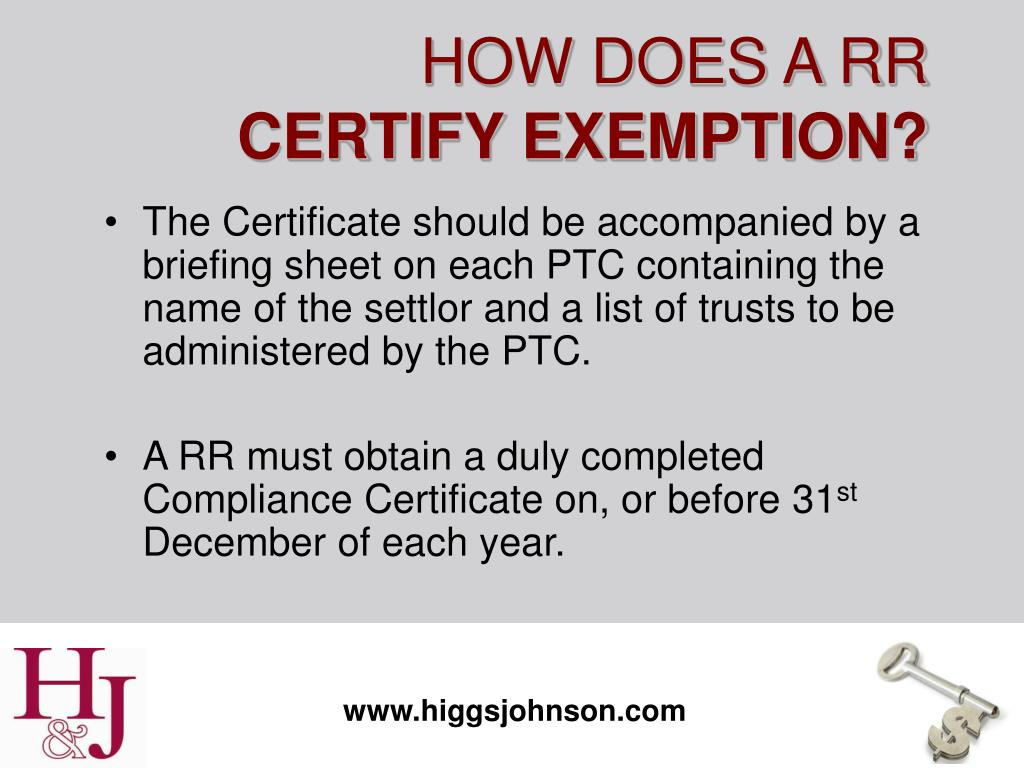 The Certificate should be accompanied by a briefing sheet on each PTC containing the name of the settlor and a list of trusts to be administered by the PTC.