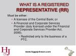 what is a registered representative rr