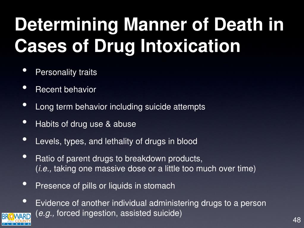 Determining Manner of Death in Cases of Drug Intoxication